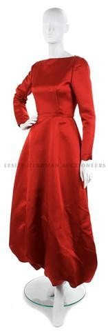 11: A Bill Blass Red Satin Evening Gown,