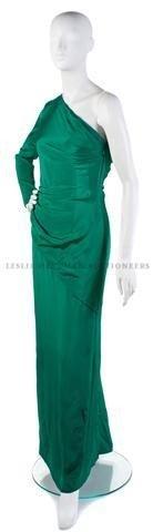 12: A Bill Blass Emerald Green Silk Evening Gown,