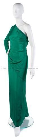 12: A Bill Blass Emerald Green Silk Evening Gown,