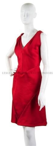 13: A Bill Blass Red Satin Cocktail Dress.