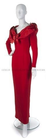 17: A Bill Blass Red Full Length Evening Gown,