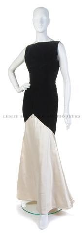 19: A Bill Blass Black Velvet and White Satin Evening G