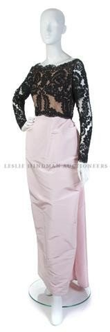 21: A Bill Blass Black Lace and Pink Silk Taffeta Eveni