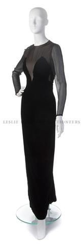 22: A Bill Blass Black Velvet and Chiffon Evening Gown,