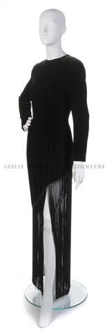 23: A Bill Blass Black Velvet Gown with Exaggerated Fri