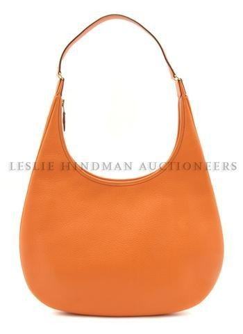 466: An Hermes Orange Leather Bag, 36 x 39 cm (14 x 15