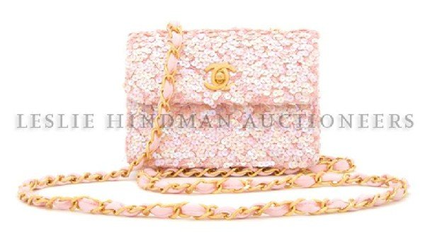 487: A Chanel Pink Sequin Evening Bag, 5 x 4 inches.