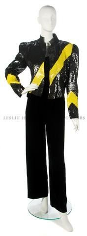 661: A Carolina Herrera Black and Yellow Sequined Eveni