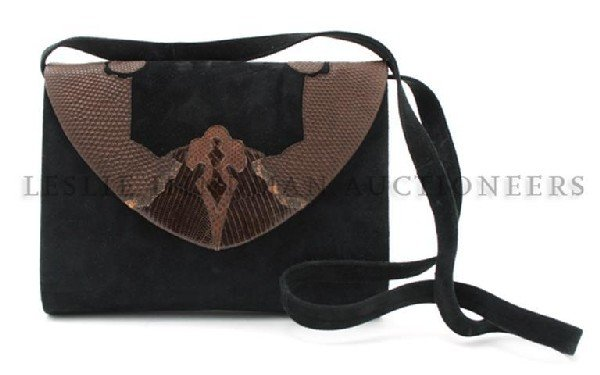 762: An Andrea Pfister Black Suede Clutch, 9 x 7 inches