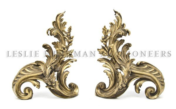 1: A Pair of Gilt Bronze Chenets, Height 17 inches.