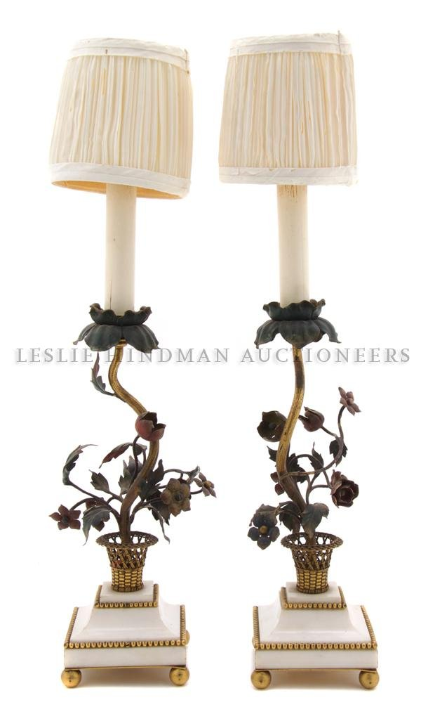 2: A Pair of Tole, Gilt-Metal and Marble Lamps, Height