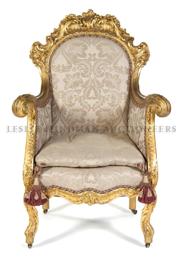 4: A Louis XV Style Giltwood Bergere, Height 44 1/2 inc