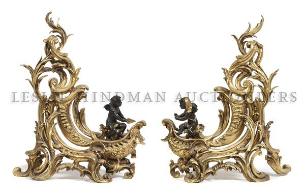 5: A Pair of Louis XV Style Gilt and Patinated Bronze C