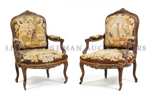 7: A Pair of Louis XV Style Fauteuils, Height 40 inches