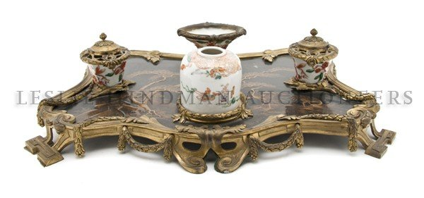 9: A French Ormolu-Mounted Porcelain and Lacquer Encrie