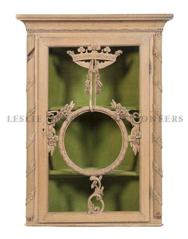 11: A Louis XV Painted Corner Cabinet, Height 44 1/2 x
