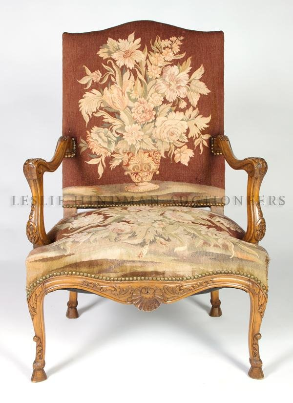 13: A Louis XV Style Fauteuil, Height 43 1/4 inches.