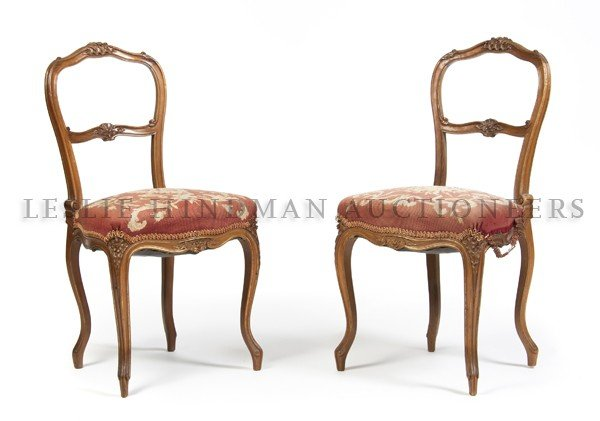 17: A Pair of Louis XV Style Side Chairs, Height 33 1/4