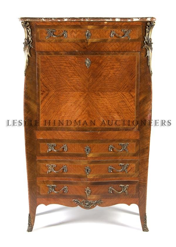 21: A Louis XV Style Parquetry and Gilt-Metal Mounted S