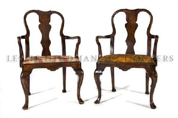 551: A Pair of English Queen Anne Style Armchairs, Heig
