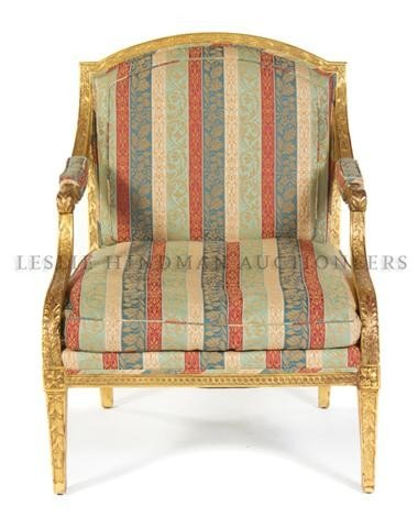 557: An English Giltwood Armchair, Height 38 inches.