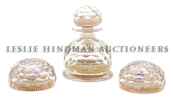 1172: A Millefiori Paperweight and Ink Bottle Set, Heig