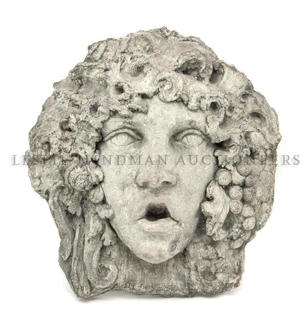 1173: A Cast Stone Mask, Height 17 1/4 inches.