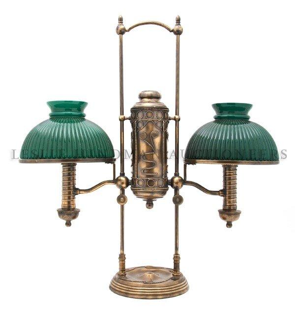 1175: A Double Student's Lamp, Manhattan Brass Co., Hei