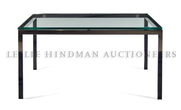 1178: A Chrome and Glass Low Table, Knoll, after a desi