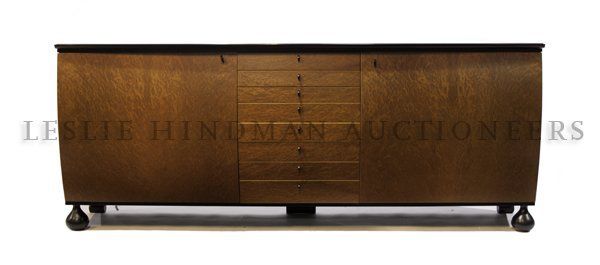 1183: A Contemporary Burlwood Veneered Sideboard, Heigh