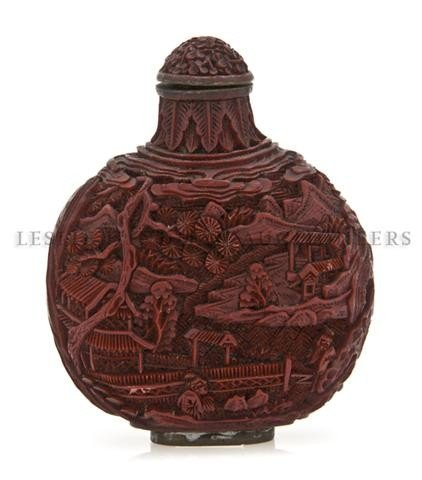 3: A Carved Cinnabar Lacquer Snuff Bottle, Height overa