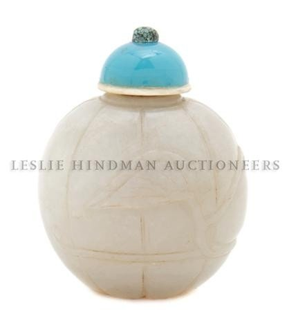 5: A Melon Form Jade Snuff Bottle, Height of bottle 1 3