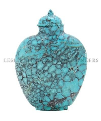 11: A Carved Turquoise Snuff Bottle, Height overall 2 1
