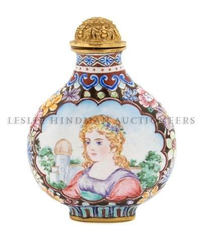 15: An Enameled European-Subject Snuff Bottle, Height o