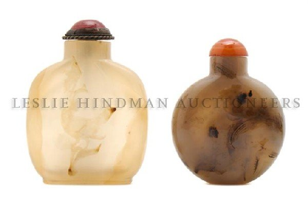 17: A Group of Two Agate Snuff Bottles, Height of talle