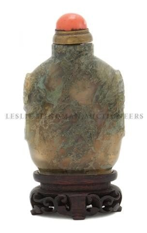 18: A Mossy Agate Snuff Bottle, Height of bottle 2 1/2