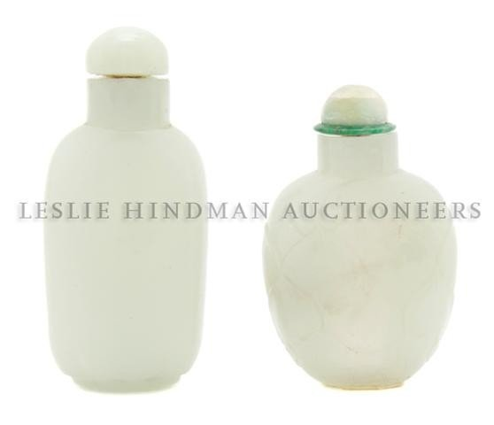 23: A Celadon Jade Snuff Bottle, Height of first 2 1/16