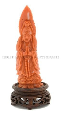 51: A Red Coral Guanyin, Height 3 3/4 inches.