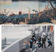 379 A Japanese Woodblock Print Triptychs Yoshitoshi