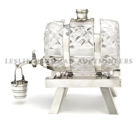 1: An English Silver Plated and Crystal Liquor Decanter