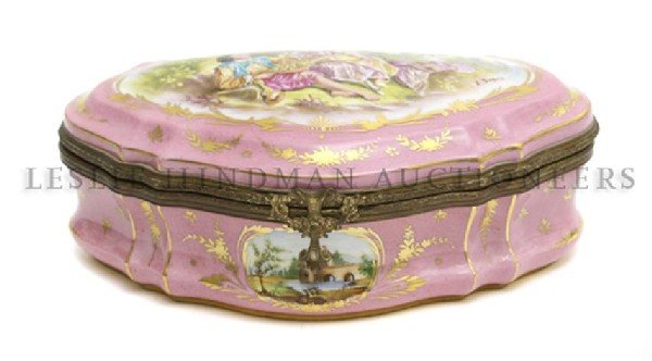 2: A Sevres Style Porcelain Box, Height 4 x width 10 1/