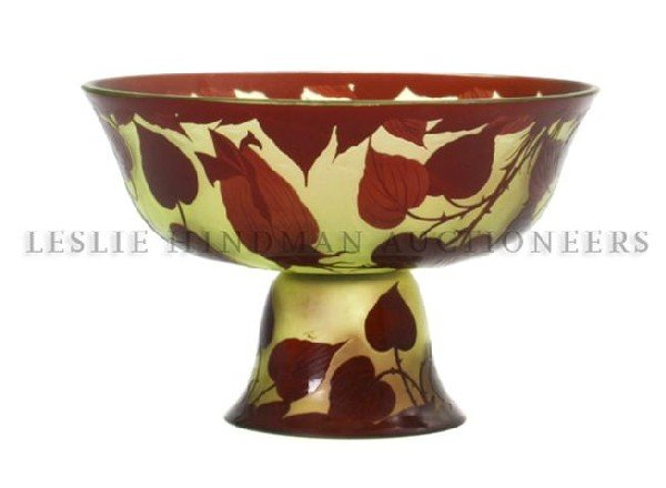 4: A Loetz Cameo Glass Compote, Height 5 3/4 inches.