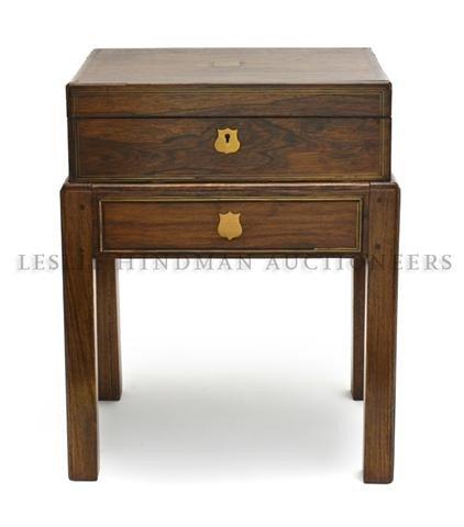 5: A Georgian Style Brass Inlaid Lap Desk, Height 12 1/