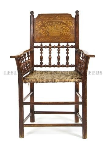 7: A Continental Spindle Back Arm Chair, Height 39 inch