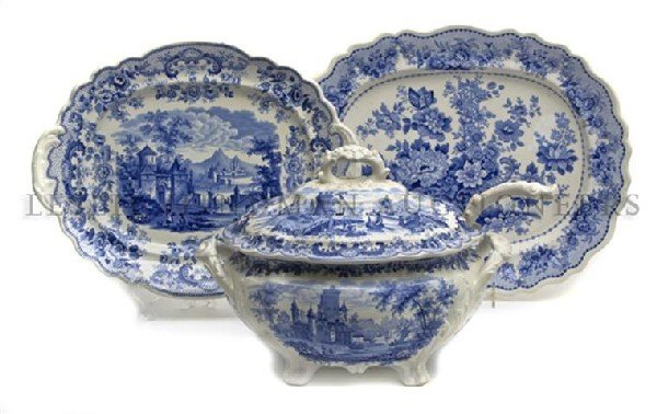 9: An English Blue and White Ceramic Soup Tureen, Heigh