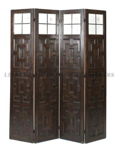 10: A Tudor Style Oak Four Panel Screen, Height of pane