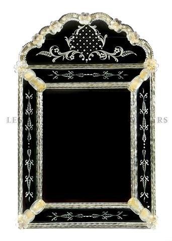 13: An Italian Glass Hall Mirror, Murano, Height 33 x w