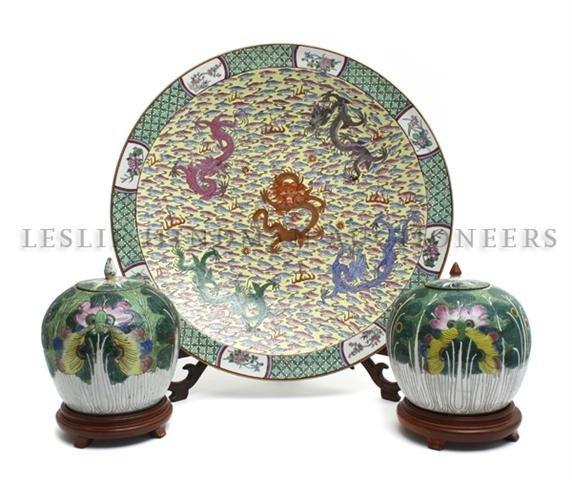 15: A Group of Three Asian Ceramic Articles, Diameter o