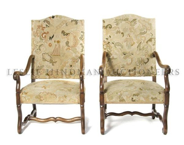 4: A Pair of Henry II Style Armchairs, Height 48 inches