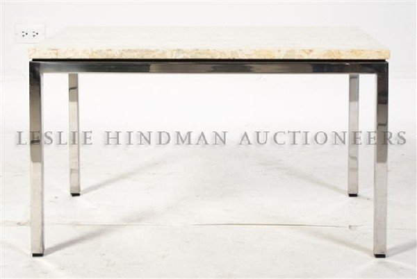 7: A Marble and Chrome Side Table, Height 17 1/2 x widt